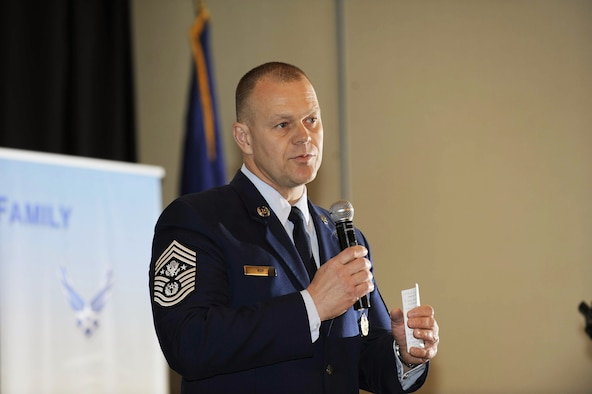 Chief Master Sergeant of the Air Force James Roy addresses attendees April 19 at the second annual Caring for People forum in Washington, D.C.  Approximately 250 active-duty, Guard and Reserve Airmen and civilians gathered for the second annual forum to address issues such as deployments, schools and housing, health and wellness, the unique challenges for families with special needs, single Airmen, and Guard and Reserve members.  (U.S. Air Force photo/Andy Morataya)