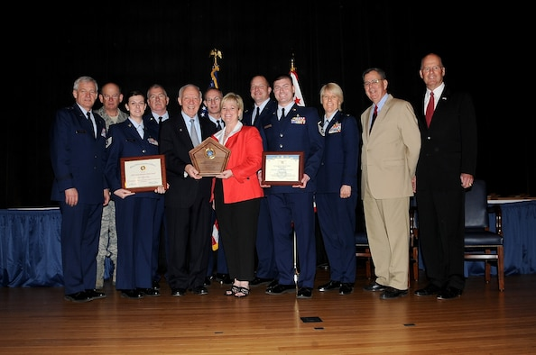 The Air National Guard's 148th Fighter Wing in Duluth, Minn. receives the DoD Family Readiness Award at a Pentagon ceremony April 16, 2010.  The unit was recognized as one of the best National Guard and Reserve family programs.