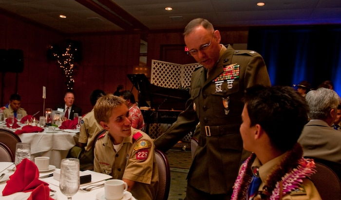 100423-M-9161A-008 CAMP H. M. SMITH, Hawaii - Colonel Walter R. Watson, Aviation Logistics Division officer for U.S. Marine Corps Forces, Pacific, shares his experiences as an Eagle Scout with fellow Eagle Scouts April 23 during the Boy Scouts of America's 57th Annual Eagle Scout Recognition Banquet at the Hawaii Prince Hotel - Waikiki, Hawaii. The Aloha Council invited Watson to inspire the younger Eagle Scouts to continue community service throughout their lives.  (U.S. Marine Corps photo by Sgt. Juan D. Alfonso)(Released)