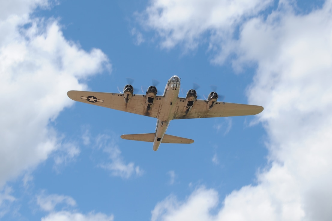 BARKSDALE AIR FORCE BASE, La. – A B-17 performs a flyby during the second day of the Barksdale 2010 Defenders of Liberty Air Show April 25. The bomber parade consisted of the B-17, B-25 and B-52. (U.S. Air Force photo by Senior Airman Alexandra M. Longfellow) (RELEASED)