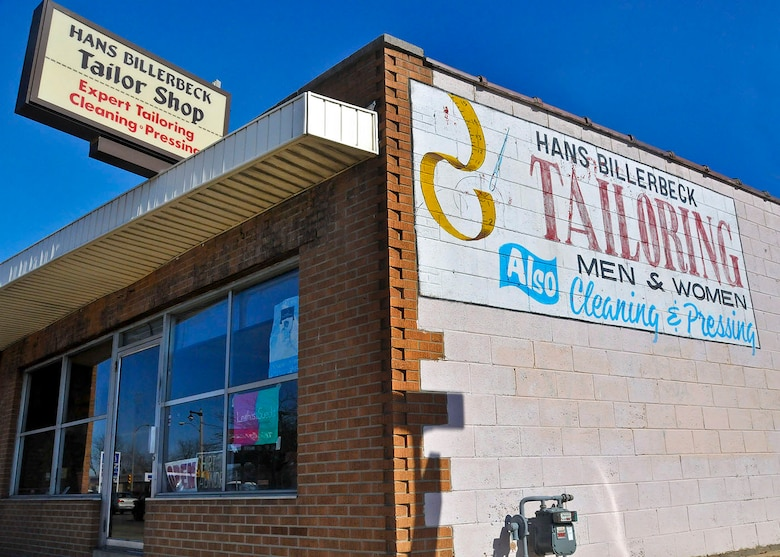 The exterior of Hans's tailor shop on South Kinnickinnic Ave. in Milwaukee.  Billerbeck opened the shop in 1972 after spending 12 years at St. John's Military Academy in Delafield, Wis.