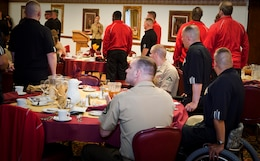 Athletes identify themselves amongst the supporting Marines, staff and guests during the training camp commencement dinner April 27, at the Colorado Inn. Approximately 50 Marines throughout the Wounded Warrior Regiment participate in the inaugural Warrior Games May 10. The Wounded Warrior Marines will be competing against the other military branches, though the Marines are the only service enduring two weeks of preparation.