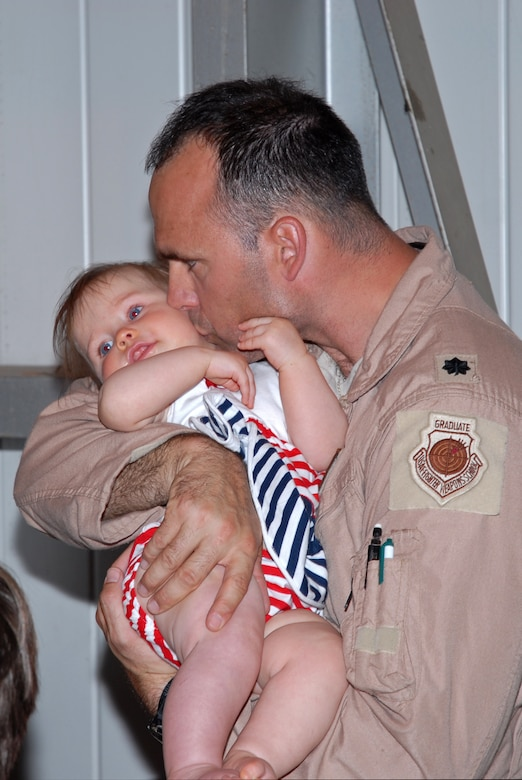 Lt Col. Scott Arbogast, 121 FS Pilot, delivers a kiss to daughter Palmer upon his return from a 52-day deployment in support of Operation Iraqi Freedom, April 6. (U.S. Air Force photo by Tech Sgt. Tyrell Heaton/Released)