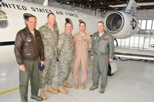 Brig. Gen. Trulan A. Eyre, 140th Wing Commander, Lt. Col. Joseph C. Smith, 200th AS Assistant Director of Operations, Lt. Col. Albert S. Leachman, 200th AS Director of Operations, Lt. Col. Paul E. Follett, 200th AS Commander, and Maj. Gen. H. Michael Edwards, JFHQ-CO TAG just prior to the 200th's first deployment in support of OIF.