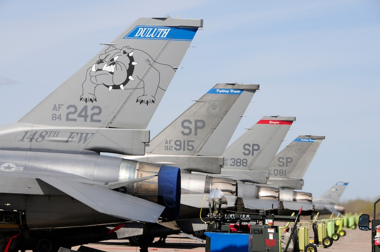 Three F-16C Block 50 Fighting Falcons from Spangdahlem Air Base, Germany arrive at the 148th Fighter Wing Air National Guard Base, Duluth, Minn. Apr. 27, 2010. The aircraft are the first block 50 F-16s to arrive at the wing as the unit becomes the first Air National Guard unit to convert to the block 50 aircraft from Active Duty Air Force.  (U.S. Air Force photo by Tech. Sgt. Brett R. Ewald/Released)