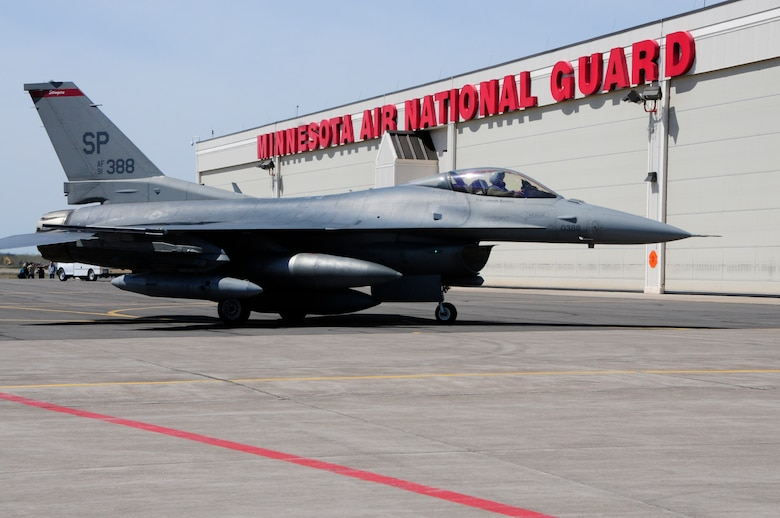 An F-16C Block 50 Fighting Falcon from Spangdahlem Air Base, Germany arrives at the 148th Fighter Wing Air National Guard Base, Duluth, Minn. Apr. 27, 2010. The aircraft is one of the first block 50 F-16s to arrive at the wing as the unit becomes the first Air National Guard unit to convert to the block 50 aircraft from Active Duty Air Force.  (U.S. Air Force photo by Tech. Sgt. Brett R. Ewald/Released)