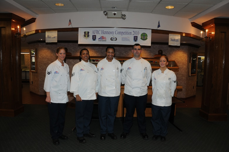 From left to right Team B consisted of food service specialists Senior Airman Sarah Kowalczyk, Staff Sgt. Patricia Fountaine, Tech. Sgt. Deonza Eady (Team B's trainer), Senior Airmen David Siegel, and Emily Roy. (U.S. Air Force photo/Staff Sgt. Peter Dean)