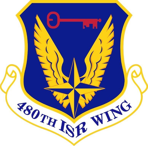 The shield of the 480th Intelligence, Surveillance and Reconnaissance Wing at Langley Air Foce Base, Va. It is a subordinate unit of the Air Force ISR Agency at Lackland Air Force Base, Texas.