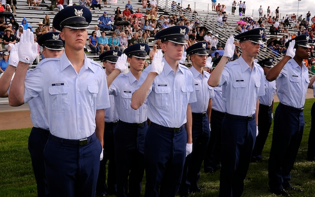 Cadets with the Air Force Academy Class of 2014 swear their oaths of office during the Academy's Acceptance Day ceremony Aug. 4, 2010. Acceptance marks the Class of 2014's transition out of Basic Cadet Training and into the Cadet Wing. (U.S. Air Force photo/Mike Kaplan)