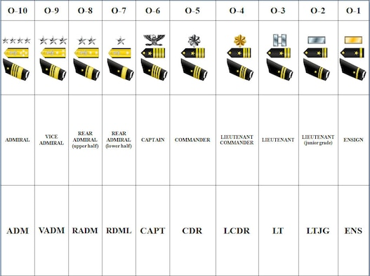 Navy officer rank structure (Courtesy graphic)