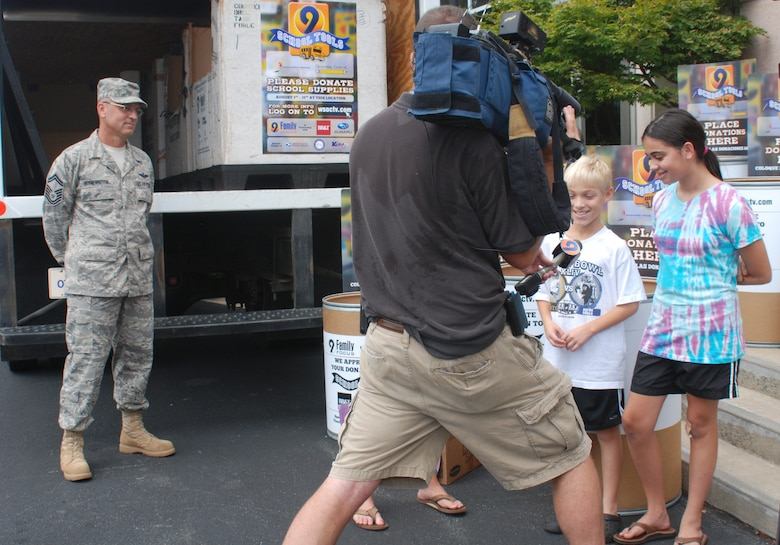 Charlotte, NC – Brother and sister Christopher and Kelsey came to WSOC-TV to drop off some book bags, paper and pens. While there, they get a chance to be interviewed and asked why they think their contributions matter.