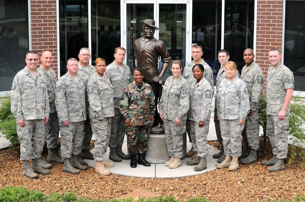 McGHEE TYSON AIR NATIONAL GUARD BASE, Tenn. -- The students and instructors of the Air National Guard Basic Retention Office Manager Course RT2010-D, gather on the campus of The I.G. Brown Air National Guard Training and Education Center here, July 13, 2010.  Pictured L-R are Master Sgt. Gary Foster, instructor; Master Sgt. Eddie McElyea; Tech. Sgt. Rick Stoquert; Master Sgt. Stanley Krasinski; Master Sgt. Rebecca El; Staff Sgt. Christopher Schulte; Master Sgt. Sheila Williams; Master Sgt. Crystal Garris; Senior Master Sgt. Michelle Hicks; Master Sgt. Richard Mackanos; Tech. Sgt. Tom Gangi; Master Sgt. Maryanne Jankowski; Master Sgt. Michael Morris, Jr.; Tech Sgt. Jason McAlister, instructor.  (U.S. Air Force photo by Master Sgt. Kurt Skoglund/Released)