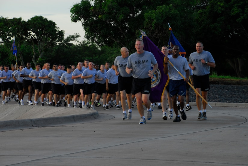 SOTO CANO AIR BASE, Honduras --  Col. Gregory Reilly, the Joint Task Force-Bravo commander, leads the way during the JTF-Bravo Run here Aug. 6. (U.S. Air Force photo/Tech. Sgt. Benjamin Rojek)