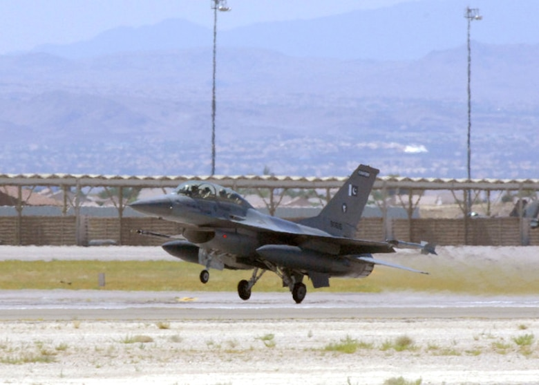 An F-16 from the Pakistan Air Force takes off the runway for Exercise Red Flag 10-4 July 21, 2010, at Nellis Air Force Base, Nev. Red Flag is a realistic combat training exercise involving the air forces of the U.S. and its allies. (U.S. Air Force photo/Airman 1st Class Daniel Phelps)