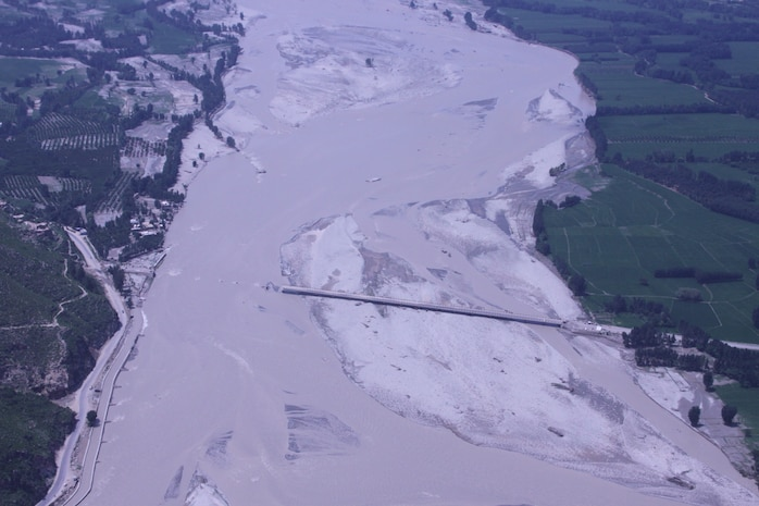 Scenery of destroyed bridge shot from a Marine Super Stallion (CH-53E) as a part of the humanitarian assistance relief efforts in Pakistan, Khyber Pakhtunkhwa province (formerly North West Frontier province), Pakistan, Aug. 13.