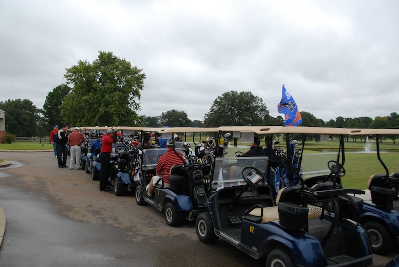 Participants line up to start last year's Golf Tournament hosted by the 164th Airlift Wing.