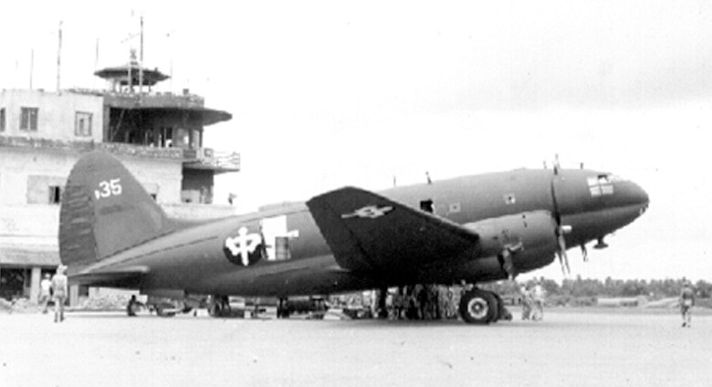 "CNAC Curtiss C-46 Commando cargo aircraft being unloaded in China. CNAC carried over 10 percent of all cargo and personnel over the ""Hump."" (Photo courtesy of cnac.org)"