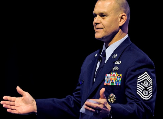 Chief Master Sgt. of the Air Force James Roy speaks to an audience of hundreds attending the Air Force Sergeants Association Professional Airmen's Conference  Aug. 17, 2010, in Atlanta. Some of his key points were joint/coalition readiness, deliberate development and resiliency among Airmen and their families. (U.S. Air Force photo/Scott M. Ash)