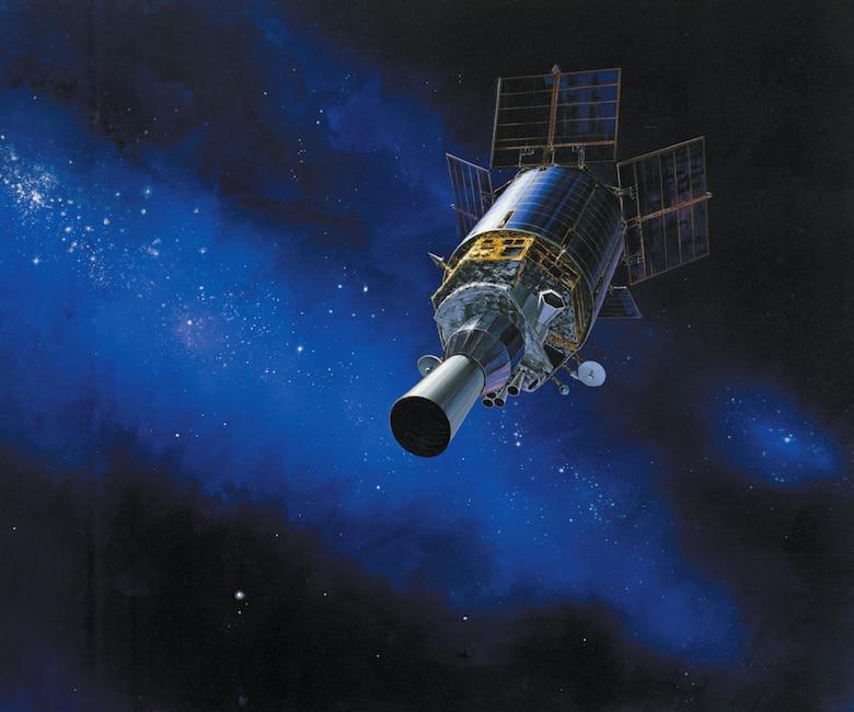 Artist rendering of a Defense Support Program (DSP) satellite in orbit. (Photo courtesy of Northrop Grumman)