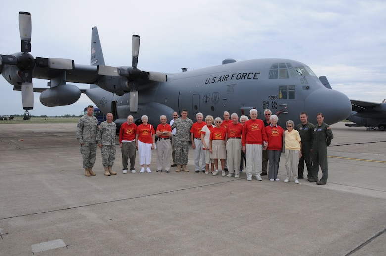 On Aug. 18 WWII Vets paid a visit to the Niagara Falls Air Reserve Station. (From left) Master Sgt. Ed Stefik, Brig. Gen Frank Cipolla, Don and Elda Carducci, John Eger, Mark Driess, Lt. Manfort, Pat Fallon, Jim and Jean Reagon, Thomas and Teresa Fabbricante, Raymond and Delores Dinkel, Marg Metz, Kathleen Loveland, Marilyn Phisterer, William Driess, Airman 1st Class Anthony King and Airman 1st Class Sarah Taylor. (U.S. Air Force photo/ Staff Sgt. Peter Dean)