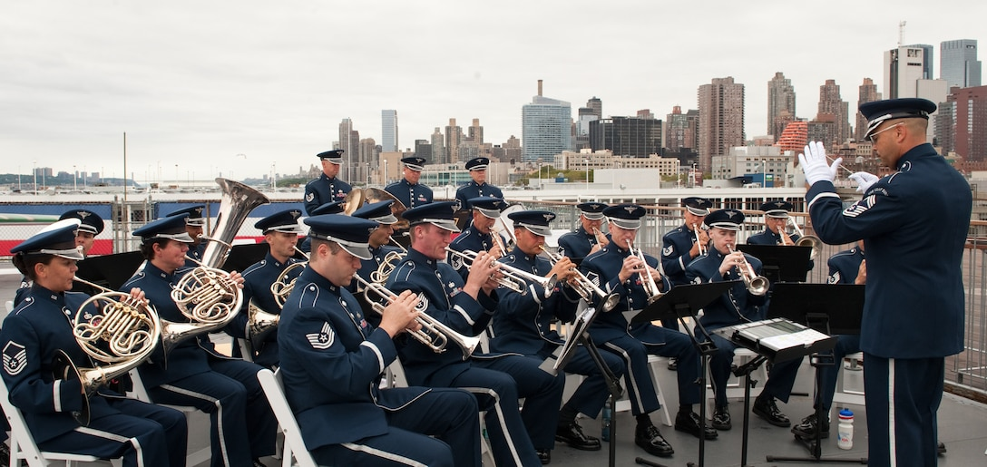 Members of the Air Force Band performs during the Air Force Week New York City proclamation ceremony at the Intrepid Sea, Air & Space Museum Aug. 24, 2010, in New York City. (U.S. Air Force photo/Lance Cheung)