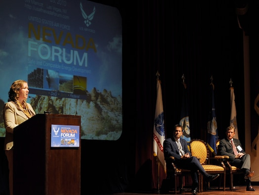 Undersecretary of the Air Force Erin C. Conaton delivers opening remarks at the Nevada Energy Forum, an Air Force-hosted three-day brainstorming to find ways for the service to reduce fossil fuels usage Aug. 24, 2010, in Las Vegas. Ms. Conaton opened the discussion with Terry Yonkers, the assistant secretary of the Air Force for installations, environment and logistics, and Nevada's Lieutenant Governor, Brian Krolicki. (U.S. Air Force photo/Scott M. Ash)