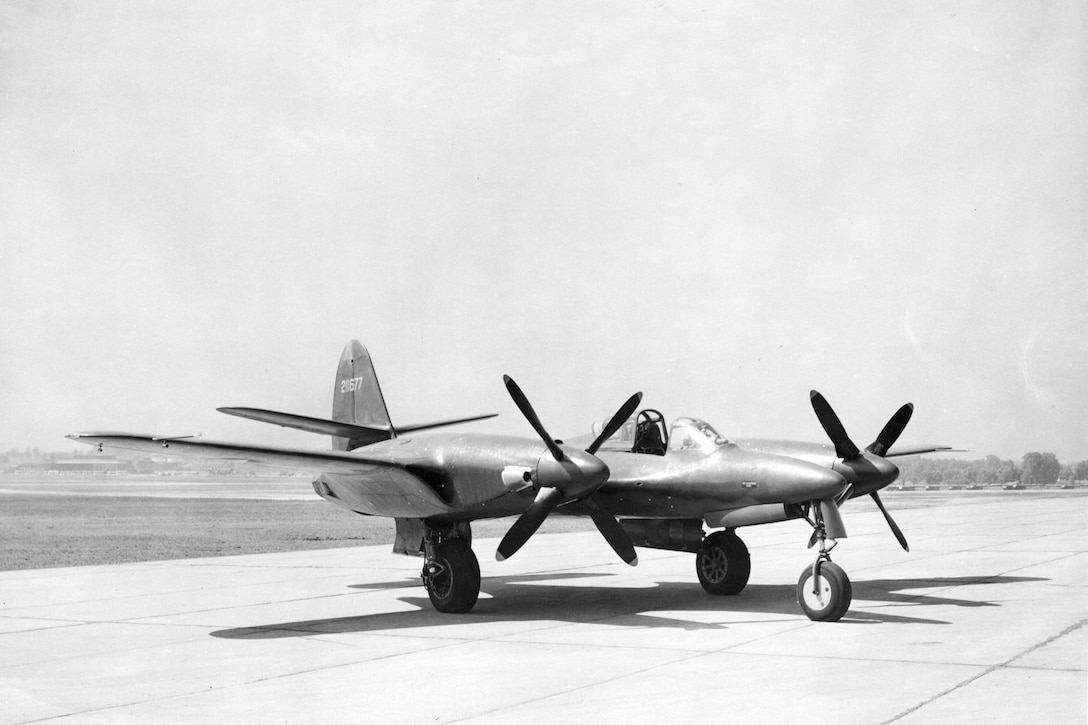 McDonnell XP-67 3/4 side view. (U.S. Air Force photo)