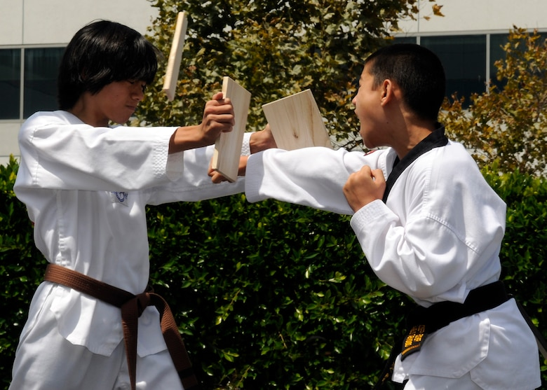 "Two Taekwondo students demonstrate their skills during one of the many cultural performances at the Space and Missile Systems Center's first Diversity Day celebration in the Schriever Space Complex courtyard, Aug. 4.  The theme for Diversity Day was, ""One World, One Team, One Mission,"" drawing from the premise that diverse backgrounds and experiences add value to the team focus of delivering space power to today's warfighter, which is the mission of SMC.  Volunteers were from the local community as well as employees and Airmen from Los Angeles AFB.  (Photo by James Gordon)"