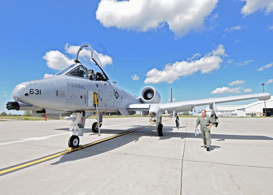 """Two A-10 aircraft from Whiteman 442nd Fighter Wing make a pit-stop at the Niagara Falls Air Reserve Station to top off their tanks on the way to an air show in New Hampshire August 27, 2010, Niagara Falls N.Y. The 442nd Fighter Wing is responsible for the operation, maintenance and support of a squadron of A-10 Thunderbolt II aircraft, more commonly known as the """"Warthog,"""" or simply as """"The Hawg."""" (U.S. Air Force photo by Staff Sgt. Joseph McKee)"""