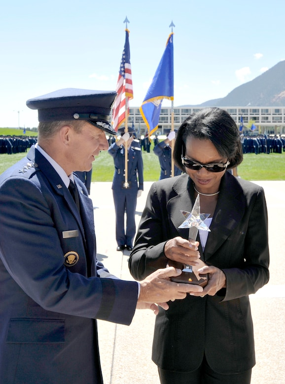 Air Force Academy Superintendent Lt. Gen. Michael C. Gould presents Dr. Condoleezza Rice with the 2009 Thomas D. White Award there Aug. 26, 2010, for her contributions to national security and defense during her career as a professor, presidential adviser, diplomat, author and national security expert. (U.S. Air Force photo/Bill Evans)