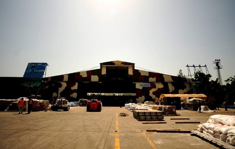 CHAKLALA AIR FORCE BASE, Pakistan – Overall shot of a hangar on Chaklala Air Base, Pakistan, the hub for all supplies coming into Pakistan in support of flood relief efforts on Aug. 28. The Contingency Reaction Element from the 818th Contingency Response Group, Joint Base McGuire-Dix-Lakehurst, N.J., arrived to take over responsibilities for loading and off loading U.S. aircraft with supplies all over Pakistan in support of flood relief efforts. (U.S. photo by Staff Sgt. Andy M. Kin) (released)