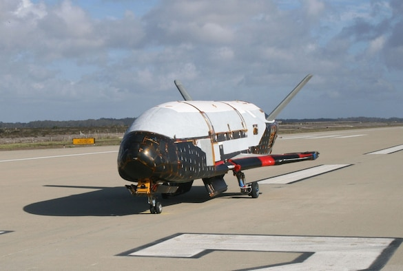 In a testing procedure, the X-37B Orbital Test Vehicle taxis on the flightline in June 2009 at Vandenberg AFB, Calif. (Courtesy photo)