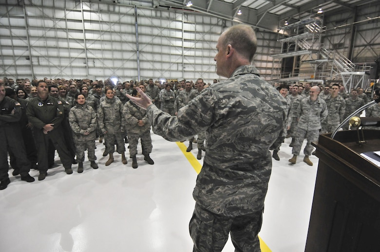 Brig. Gen. Donald P. Dunbar, Adjutant General for the State of Wisconsin, addresses the Airmen of the 128th Air Refueling Wing during a Commander's Call Sunday, December 05, 2010.  Dunbar, the commander of Wisconsin's National Guard, previously served as Wing Commander at the 128th. U.S. Air Force photo by Staff Sgt. Nathan T. Wallin / released