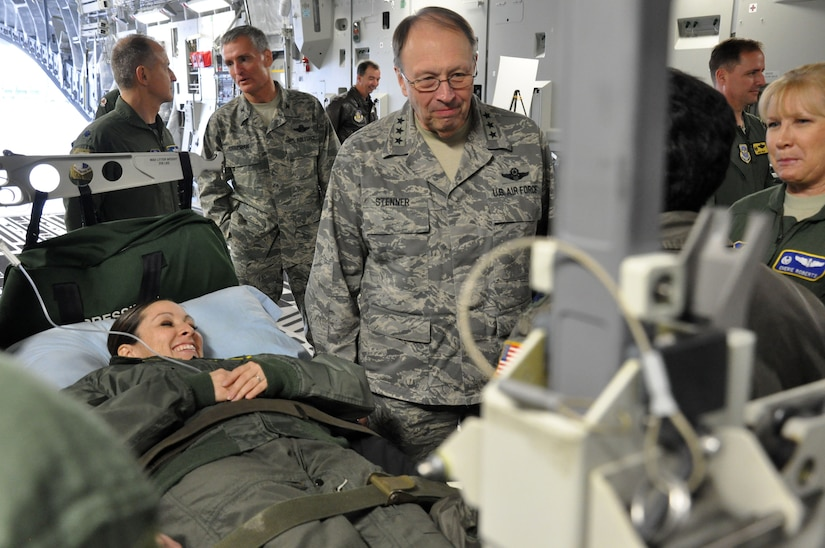Lt. Gen. Charles Stenner, Chief of Air Force Reserve, receives a brief by a member of the 315th Aeromedical Evacuation Squadron, Joint Base Charleston, S.C., during his official visit here Dec. 4, 2010. (U.S. Air Force photo/Senior Airman Robert Pilch)