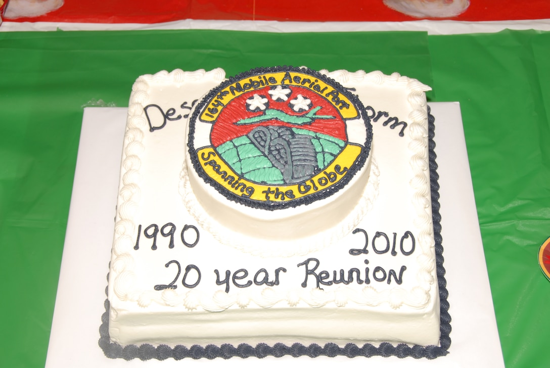A cake commemorating the 20 Year Desert Storm Deplyment Reunion for the 164th Aerial Port Squadron.