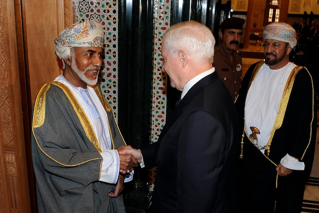 u s department of > photos > photo essays > essay view  i sultan qaboos greets u s secretary robert m gates at the bait al baraka