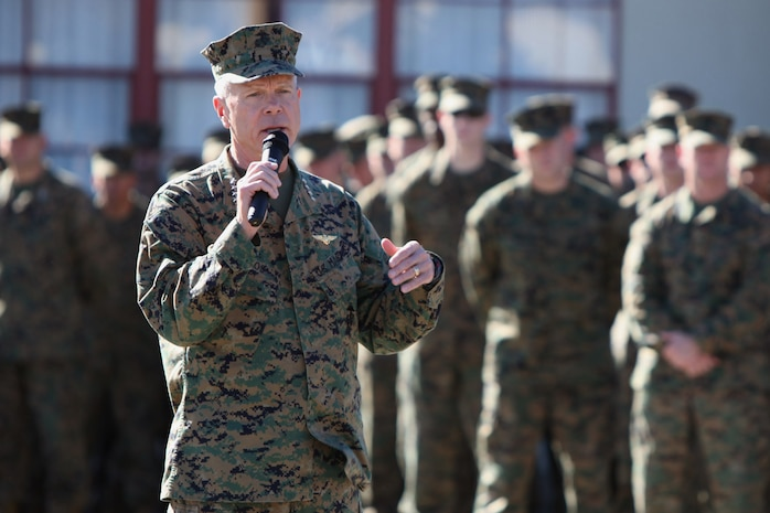 Commandant of the Marine Corps Gen. James F. Amos addresses Marines and sailors at Camp Pendleton, Calif., Dec. 7.  The visit was part of a tour of West Coast installations where Amos visited troops and met with commanders at multiple locations.  This is Amos' first coastal tour since assuming command.  ::r::::n::