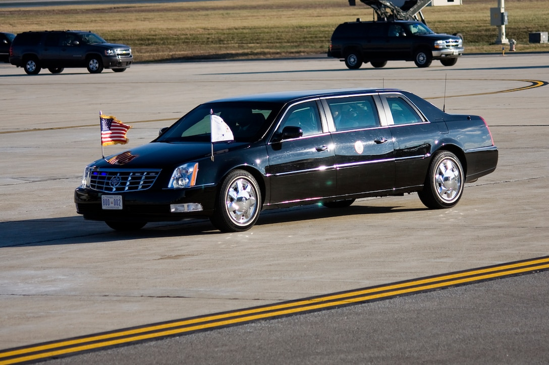 GRISSOM AIR RESERVE BASE, Ind. -- Vice President Joe Biden returns to Grissom in his limousine after visiting Kokomo, Ind., with President Barack Obama on their White House to Main Street tour Nov. 23. (U.S. Air Force photo/Tech. Sgt. Mark R. W. Orders-Woempner)