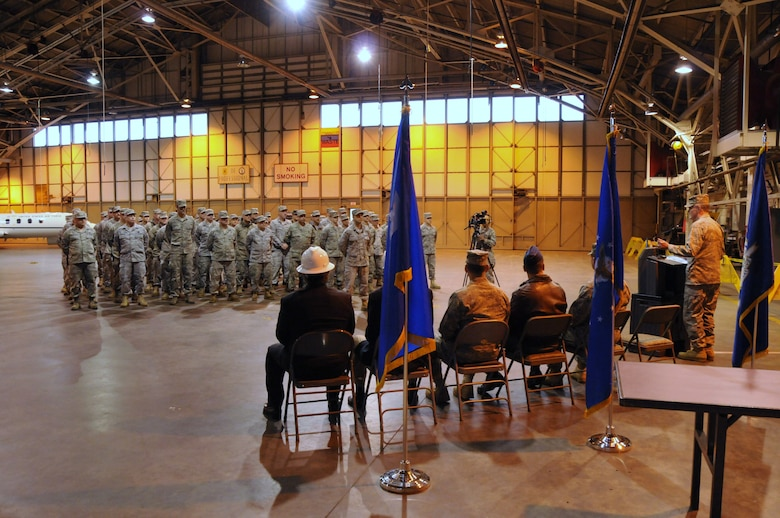 Maj. Gen. Thaddeus J. Martin (far right), the Adjutant General for the state of Connecticut and the commander of the Connecticut National Guard, addresses members of the 103rd  Maintenance Group in the main hangar at Bradley Air National Guard Base in East Granby, Conn. on Wednesday, Dec. 1, 2010, during a ceremony marking the start of a construction and renovation project for the hangar in preparation for the unit's next mission flying the C-27J Spartan. (U.S. Air Force photo by Tech. Sgt. Erin E. McNamara)