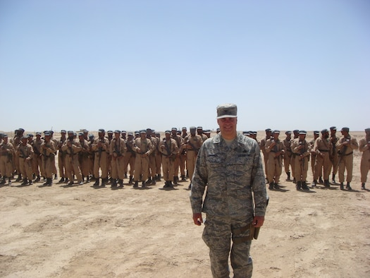 Vice Chief of Staff for the Minnesota National Guard, Col. Paul Cummings in formation with Afghan police recruits outside of Camp Leatherneck in the Helmand Province of Southwestern Afghanistan in April 2010.  (Submitted- National Guard Photo)
