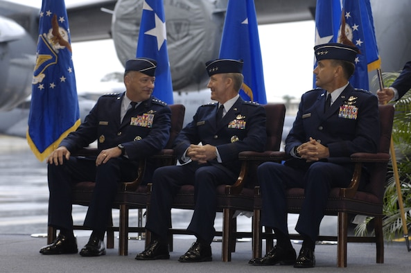 Gen. Gary North (left), Pacific Air Forces commander, Lt. Gen. Hawk Carlisle and Lt. Gen. Ted Kresge, during the 13th Air Force change of command at Joint Base Pearl Harbor Hickam, Hawaii, on Dec. 10, 2010.   General Carlisle relinquished command of 13th Air Force to Lt. Gen. Ted Kresge during the ceremony presided over by General North.