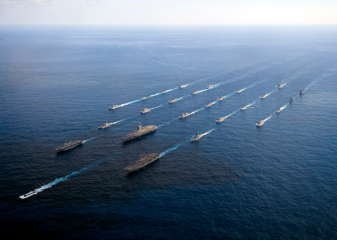 A formation of ships from the U.S. Navy and Japan Maritime Self Defense Force cruise in the Pacific Ocean at the conclusion of exercise Keen Sword, which took place Dec. 3-10. Identified as the largest joint, bilateral field training exercise between the two nations in Japan, Keen Sword 11 was designed to allow the two militaries to practice and evaluate the coordination procedures and interoperability elements required to effectively and mutually respond to the defense of Japan, or to a regional crisis or contingency situation in the Asia-Pacific region. (U.S. Navy photo)
