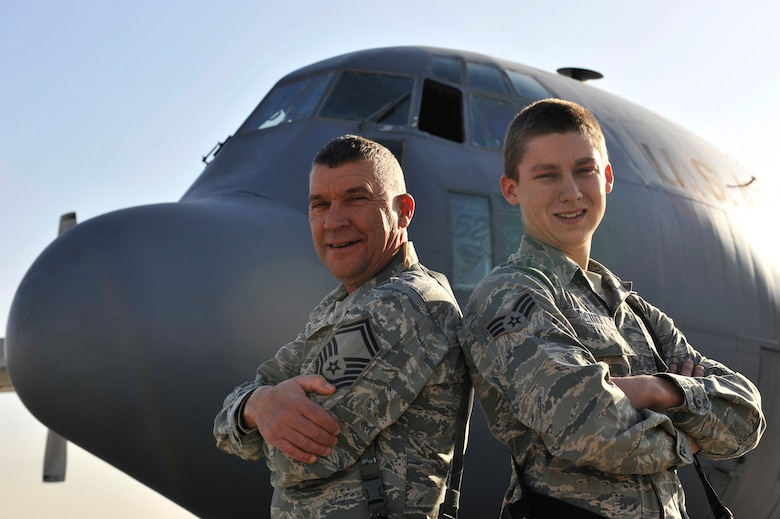 Senior Master Sgt. Eldon King, 455th Air Expeditionary Wing ground safety superintendent, and Senior Airman Skyler Petitt, a C-130 Hercules crew chief assigned to the 774th Air Expeditionary Airlift Squadron, stand together at Bagram Airfield, Afghanistan, Dec. 12, 2010. The grandfather and grandson are natives of St. Joseph, Mo., and are serving their last and first deployments respectively together.