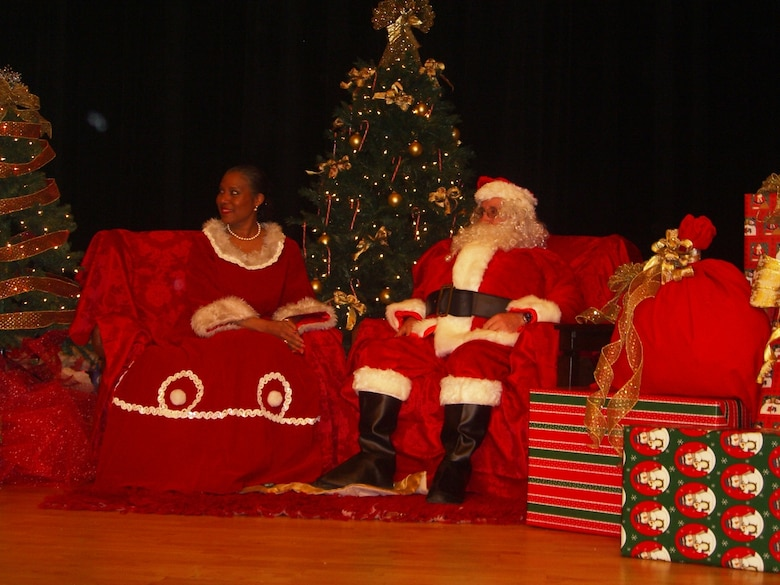 Santa and Mrs. Claus pay a visit to the Pearl S. Buck Christmas Party at Osan Dec. 4. (Courtesy photo)