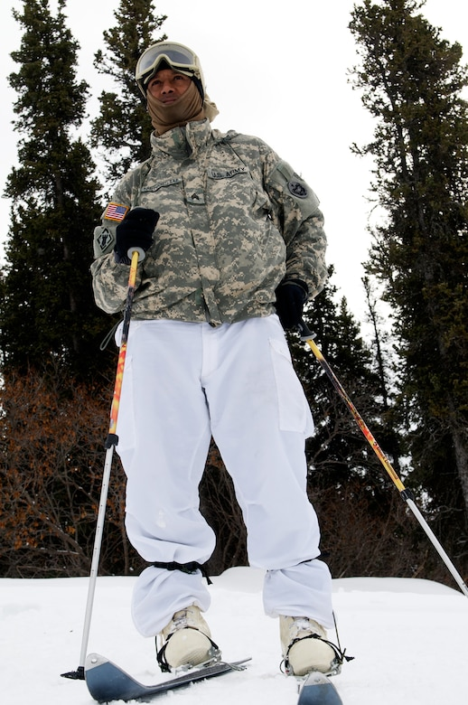 Sgt. Zeresenai Mengistu, 6th Engineer Battalion, models the Army?s cross-country skiing equipment, Feb. 26, 2009, during Cold Weather Leaders Course ski progression training at the Black Rapids Training Site. Troops trained in military skiing can rapidly apply their skills using civilian ski equipment which, though not as robust, can be lighter and easier to use. (Photo by David Bedard/JBER PAO)