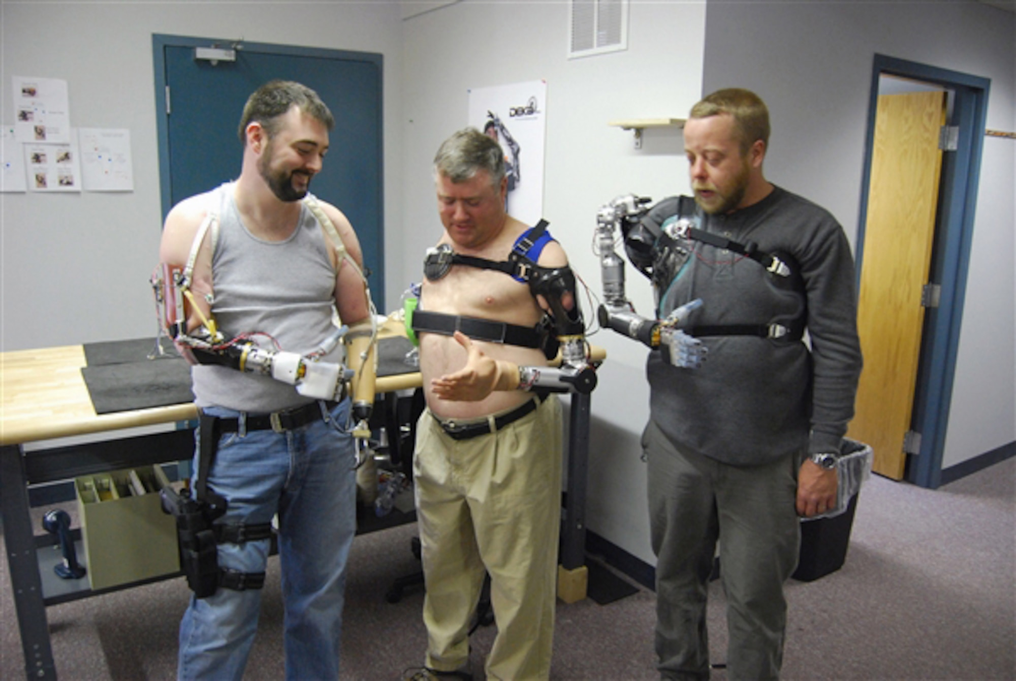 Users wear and control, without surgery, an advanced prosthetic arm developed under the Defense Advanced Research Projects Agency's Revolutionizing Prosthetics program in 2007. (Courtesy photo)