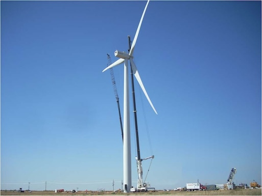 The Alstom wind turbine operating at Reese Technology Center since November, 2010 is 110 meters tall from the tip of its outstretched blade to the ground.  The turbine, which generates 1.67 megawatts of power, is used for research in the Texas Tech University Wind Science and Engineering program and for training in South Plains College's Wind Technician program, both at the former Reese AFB.