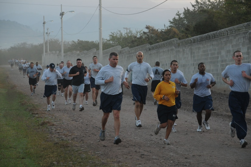 The Jingle Bell Run took place at Soto Cano Air Base, Dec. 16. Members basewide ran the nearly 3.5 mile run/walk enthusiastically adorning jingle bells and Santa hats. Morale Welfare and Recreation sponsored the event and t-shirts were awarded to the first 150 members who completed the run. American Forces News was also on scene videoing and interviewing participants. (U.S. Air Force photo/Staff Sgt. Kimberly R. Moore)