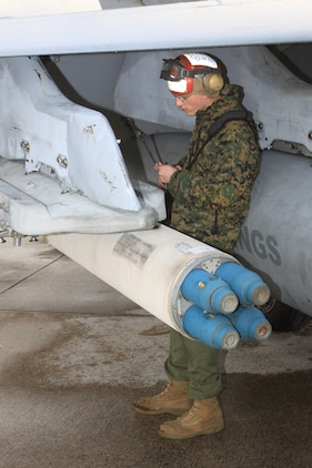 Lance Cpl. Casey Hayes, Marine All-Weather Fighter Attack Squadron 225 aviation ordnance technician, ensures a launch adapter unit is safely secured to a VMFA(AW)-225 F/A-18 Hornet during a unit-level training exercise here Dec. 17. Aviation ordnance technicians ensure all ordnance is safely secured several times before a jet can take off.