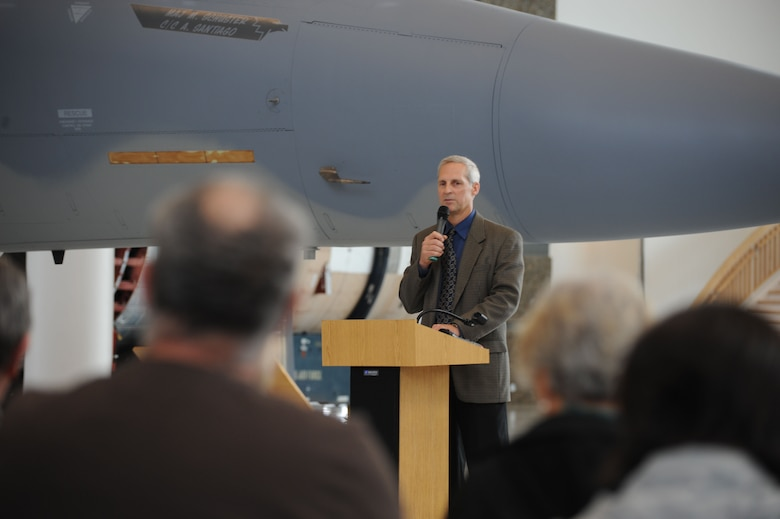 Master of ceremony Lt. Col. (retired) Kevin Bode talked about the significance and background of the F-15 Eagle. Aircraft 73-089 was dedicated to the Evergreen Aviation Museum Nov 11, 2010. 73-089 was the oldest flying F-15 Eagle retiring at thirty six years of service. One of the first production aircraft, 089 had a uniqueness that both the maintenance and pilots loved. (US Air Force Photograph by Tech. Sgt. Greg Neuleib)